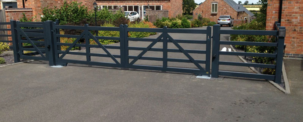Farm Style Automated Gates and Railings for a Barn Conversion Community