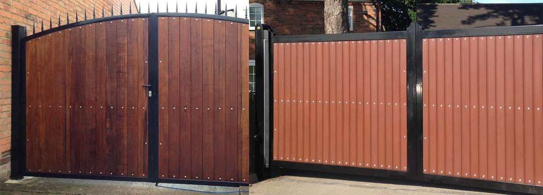 wood lined garden gates